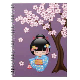 Maiko Kokeshi docka - flicka för blåttKimonoGeisha Anteckningsbok Med Spiral