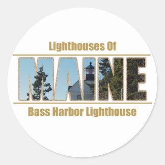 Maine avbildar den bas- hamnfyren text runt klistermärke
