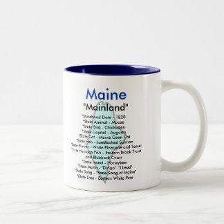 Maine symboler & karta Två-Tonad mugg