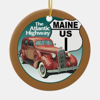 Maine US rutt 1 - den atlantiska huvudvägen Julgransprydnad Keramik