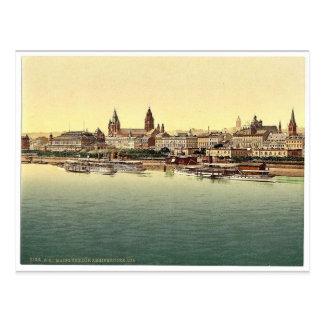 Mainz från Rhine överbryggar, Rhinen, tyskland Vykort