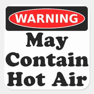 Maj innehåller hettluft fyrkantigt klistermärke