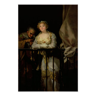 Maja och Celestina på en balkong, 1805-12 Poster