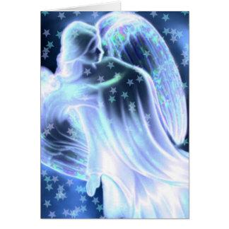 Majestätisk blåttängel med stjärnahälsningkortet hälsningskort