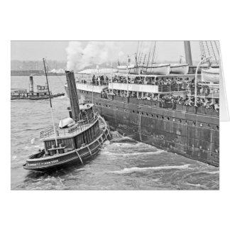 Majestätisk bogserbåthjälp RMS Hälsningskort