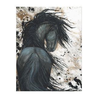 Majestätisk Friesianhäst vid den Bihrle Canvastryck