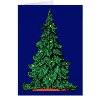 Majestätisk julgran på blått - ett kort