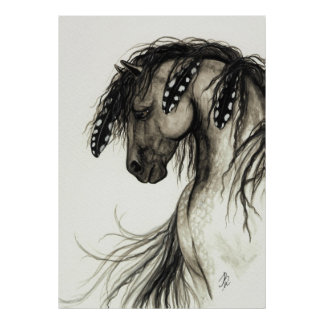 Majestätisk Mustang vid affischen för BiHrLe grå f Posters