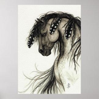 Majestätisk Mustang vid affischen för BiHrLe grå Poster