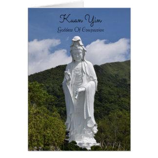 Majestätiskt kort för Kuan Yin statyhälsning