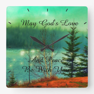 Majgud kärlek och fred är med dig fyrkantig klocka