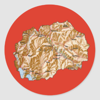 Makedonien kartaklistermärke runt klistermärke