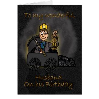 Makefödelsedagkort - kolgruvarbetaretecknad hälsningskort