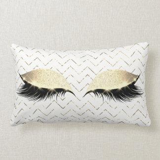 Makeup för glitter för svart för öga för guld- lumbarkudde