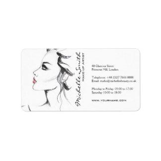 Makeup för kvinna för vattenfärgbläck svartvit adressetikett