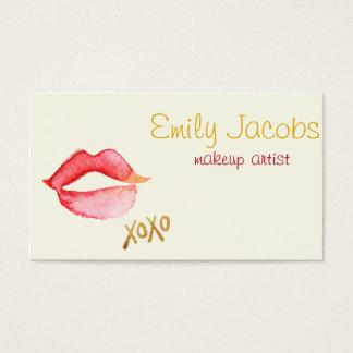 Makeupkonstnär - vattenfärgläppar & guld visitkort