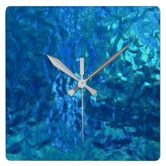 makro för nedfläckadblåttexponeringsglas fyrkantig klocka