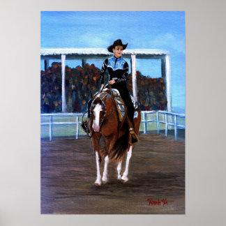 Måla det westerna nöjeporträtt för hästen posters