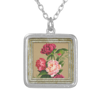 Måla för rosor och för röd ros silverpläterat halsband