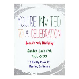 Måla partyet för ungar för färger för 12,7 x 17,8 cm inbjudningskort