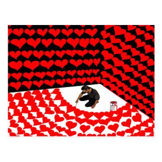 Måla själven in i tränga någon med röda hjärtor vykort