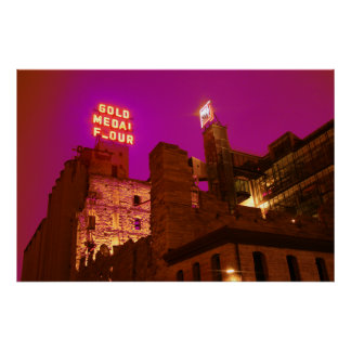Mala staden på natten affisch