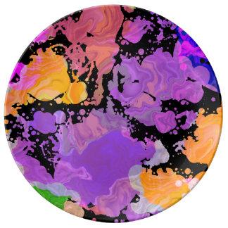 Måla stänkSplattertrycket pläterar (lilor Porslinstallrik