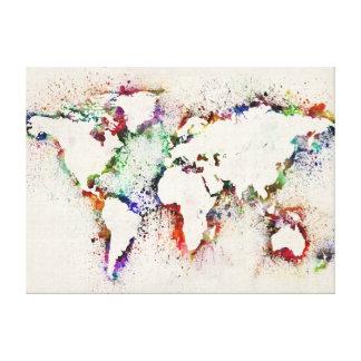 Måla stänktextkartan av världen canvastryck