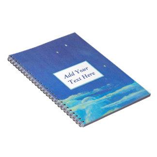 Målad anteckningsbok för spiral för natthimmel