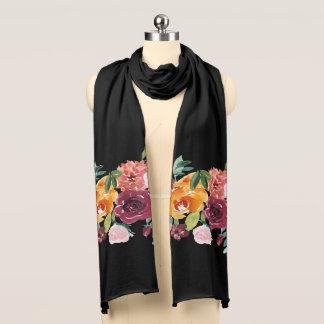 Målad blommigtsvartScarf Wraps
