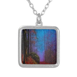 Målad dimma för skoghöstlilor silverpläterat halsband