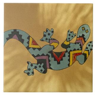Målad geckoödla på väggen, Tucson, Arizona, Kakelplatta
