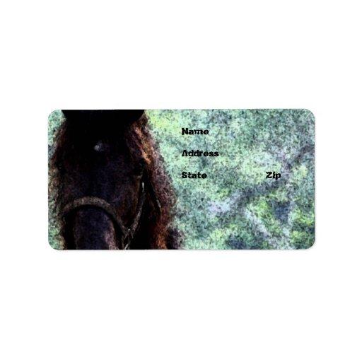Målad häst adressetikett