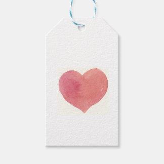 Målad hjärta för vattenfärg ro presentetikett