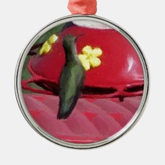 Målad Hummingbird på förlagemataren Julgransprydnad Metall