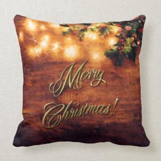 Målad lantlig jul - trä med järnekklippning kudde