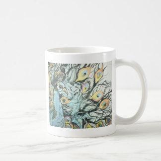 Målad påfågel kaffemugg
