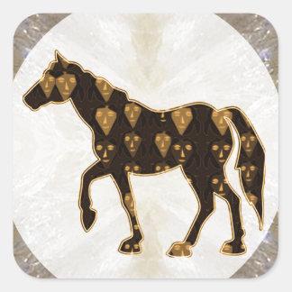 Målad ritt för djur för lek för hästhingstPolo Fyrkantigt Klistermärke