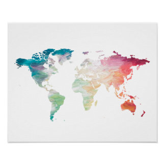 Målad världskarta poster