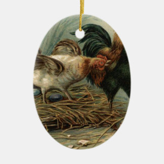 Målade ägget för tupphönapåsken bygga bo färgaden julgransprydnad keramik