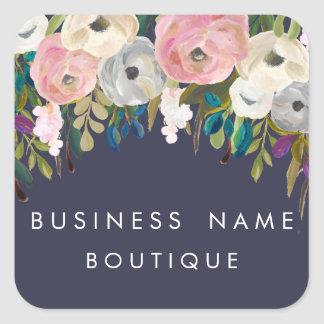 Målade blom- anpassadeaffärsklistermärkear fyrkantigt klistermärke