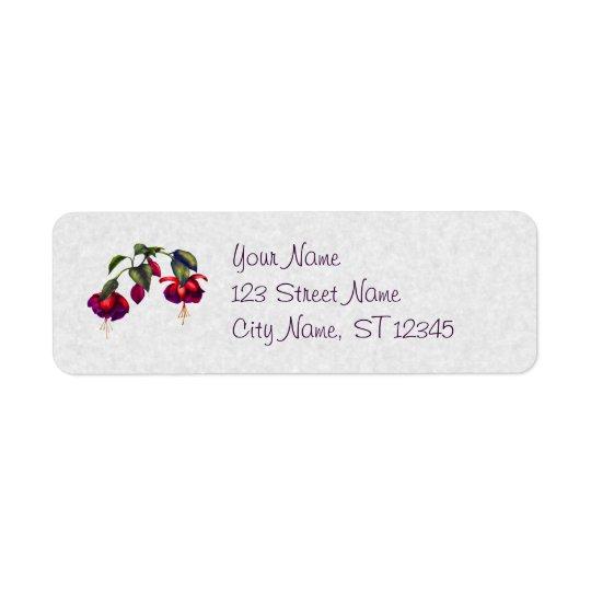 Målade purpurfärgade & röda Fuchsias Returadress Etikett