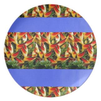 Målade randar för mall tillfogar blommor TXT Tallrikar