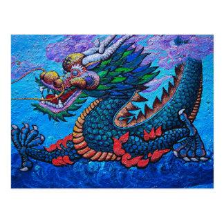 Målar den färgglada draken för kall orientalisk vykort