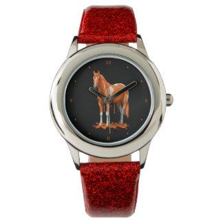 Målar den orange stekflottblöten för pumpa hästen armbandsur