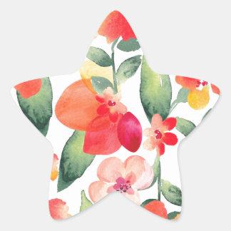 Målat blommamönster stjärnformat klistermärke