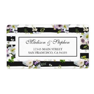 Målat blommigt görat randig mönster - bröllop fraktsedel