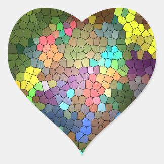 Målat glass av Shirley Taylor Hjärtformat Klistermärke