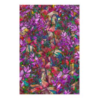 Målat glass för abstrakt för fototryckblommigt fototryck