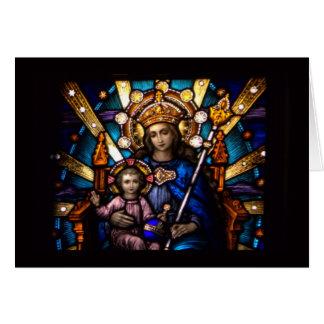 Målat glassfönster Madonna & barn Hälsningskort